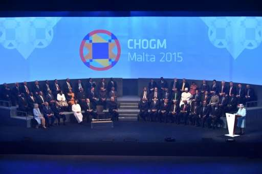 Queen Elizabeth II delivers a speech during the opening ceremony of the Commonwealth Heads of Government Meeting (CHOGM) at the