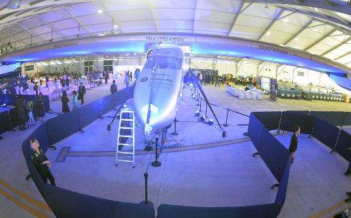 The Solar Impulse 2 undergoes maintainance in a hangar in Lukou International Airport in Nanjing, China on April 22, 2015