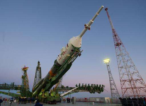 The Soyuz TMA-15M space rocket is mounted on a launch pad at the Russian-leased Baikonur cosmodrome in Kazakhstan on November 21