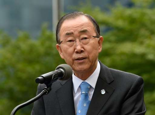 UN Secretary-General Ban Ki-moon speaks during the Peace Bell Ceremony to commemorate the International Day of Peace in New York