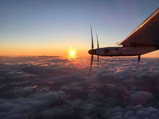 Solar Impulse 2 pictured a little while after it took off from the international airport in Nagoya, Japan, early June 29, 2015