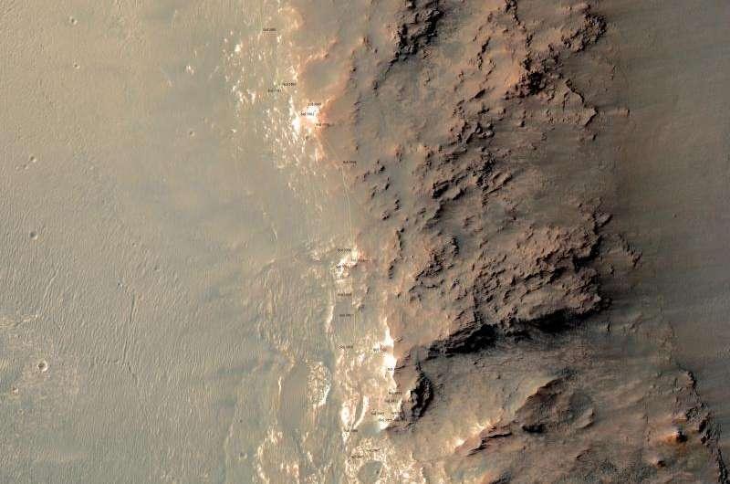 Rock spire in 'Spirit of St. Louis Crater' on Mars