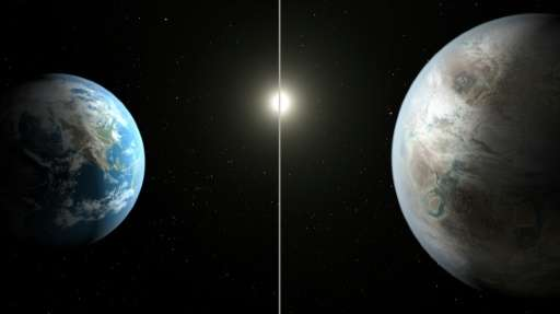 This NASA artist's concept obtained July 23, 2015 compares Earth (L) to the new planet, called Kepler-452b, which is about 60 pe