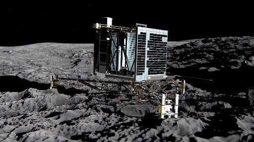 An artist's impression of Rosetta's lander Philae (back view) on the surface of comet 67P/Churyumov-Gerasimenko