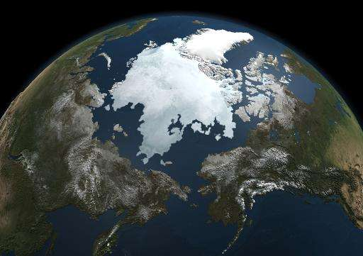 A picture taken by NASA's Aqua satellite taken on September 3, 2010 shows the extent of the Arctic sea ice
