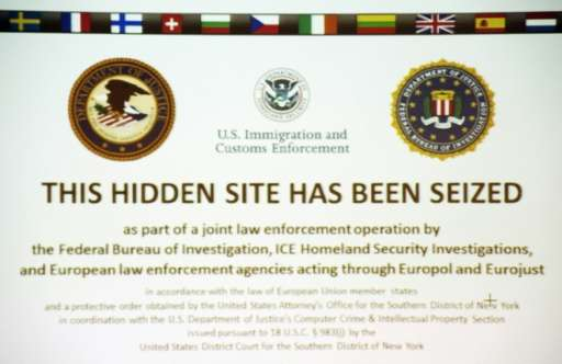 """This hidden site has been seized"" is shown on the screenshot of the illegal internet retail platform ""Silk Road"