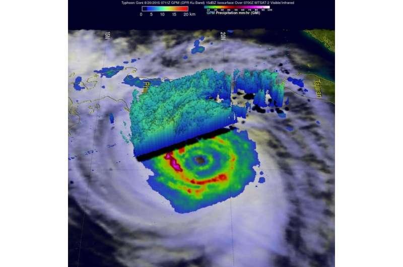 Two NASA satellites see powerful Typhoon Goni brush the Philippines