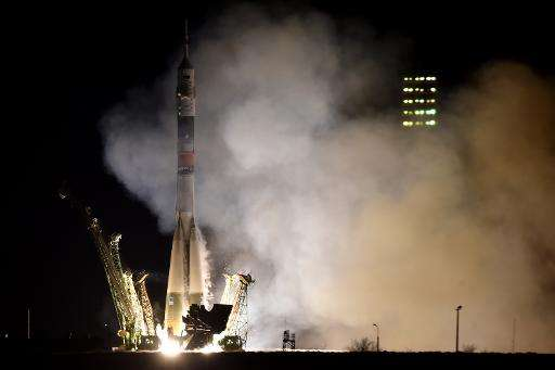 File picture shows a Russian Soyuz spacecraft launching from the pad at the Russian-leased Baikonur cosmodrome