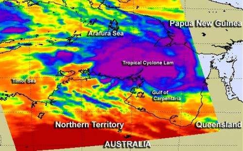 NASA satellites reveal Tropical Cyclone Lam strengthening