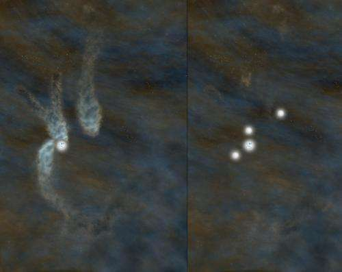 Astronomers catch multiple-star system in first stages of formation