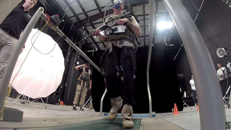 Soldiers crossing with Soft Exosuit tech to lighten fatigue