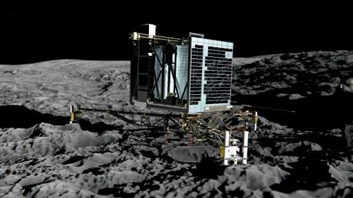 An artist''s impression of Rosetta's lander Philae (back view) on the surface of comet 67P/Churyumov-Gerasimenko