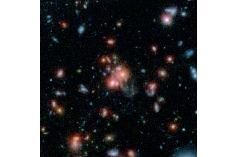 Astronomers find galaxy cluster with bursting heart