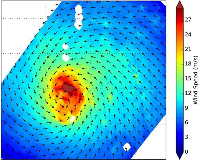 NASA's RapidScat identifies Typhoon Halola's strongest side