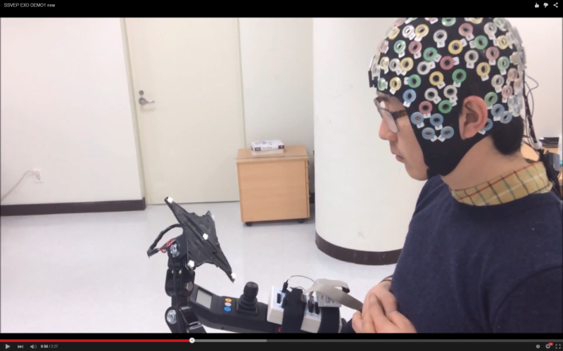 A brain-computer interface for controlling an exoskeleton