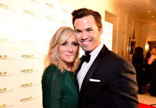 """Actors Judith Light and Andrew Rannells attend the """"Transparent"""" cast and crew Golden Globes Viewing Party at The Lond"""