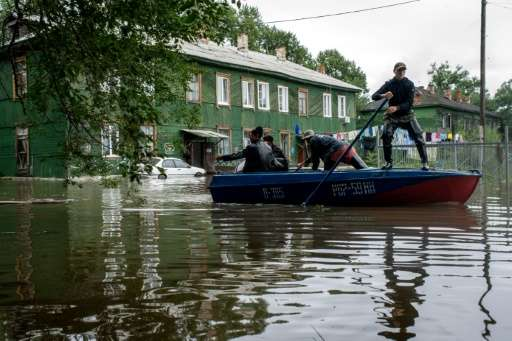 A flooded street in the village of Bolshoi Ussuriysky in Russia's Far Eastern Amur region