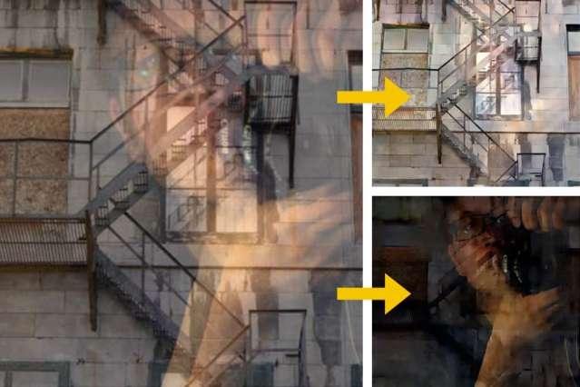 Algorithm to distinguish reflections from photos taken through windows