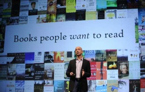 Amazon CEO Jeff Bezos speaks in New York, May 6, 2009