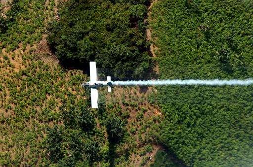 An airplane sprays coca plants in El Catatumbo, Norte de Santander department, Colombia, near the border with Venezuela on June