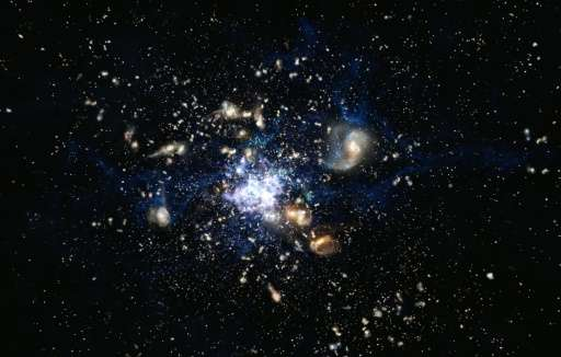 An artistic impression depicts the formation of a galaxy cluster in the early Universe, released on October 13, 2014