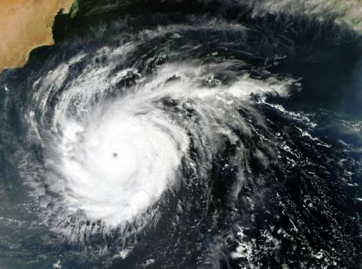 A NASA satellite image shows tropical cyclone Chapala in the Arabian Sea in early November 2015
