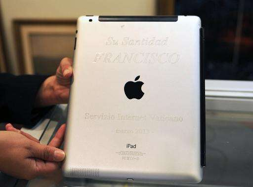 An iPad that belonged to Pope Francis in Montevideo, on March 25, 2015