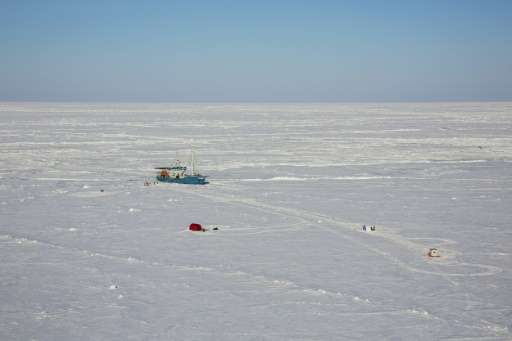 A Norwegian research vessel in the Arctic Ocean, near the North Pole on April 21, 2015