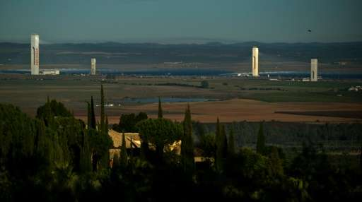 An overall view of the Abengoa solar plant in Sanlucar La Mayor