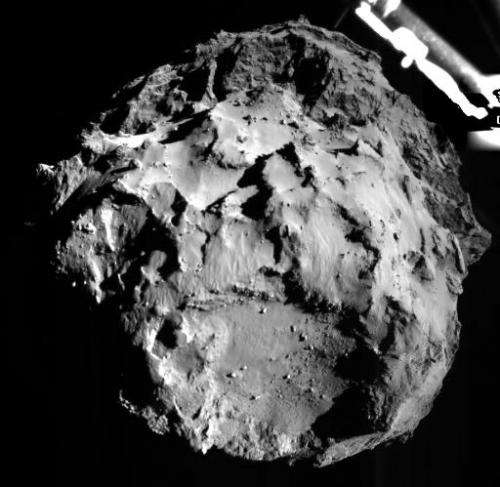 A photo taken by the the Rosetta Lander Imaging System and released on November 12, 2014 by the European Space Agency shows the