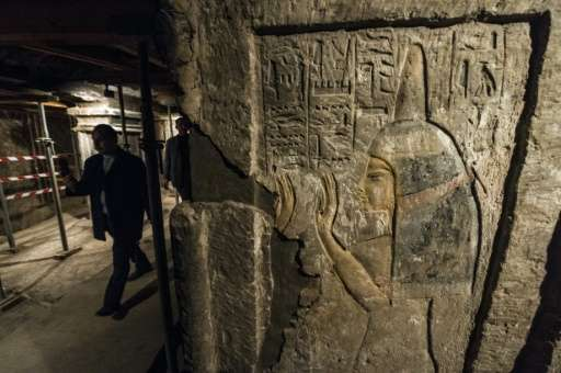 A relief inside the tomb of Maia, the wet-nurse of legendary Egyptian boy king Tutankhamun, in Saqqara, about 35 kms south of Ca