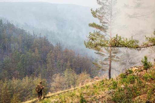 A Russian forest ranger inspects a burning valley on Olkhon island, the largest island in Lake Baikal in eastern Siberia, where