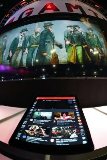 A tablet computer demonstrating YouTube Gaming is seen  during the Electronic Entertainment Expo in Los Angeles, California on J