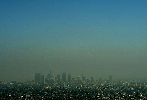 A view of the Los Angeles city skyline as heavy smog shrouds the city in California on May 31, 2015