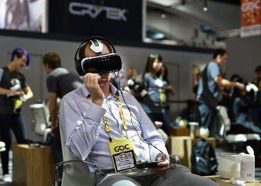 A virtual reality system at the Oculus booth during the Game Developers Conference in San Francisco, California on March 4, 2015