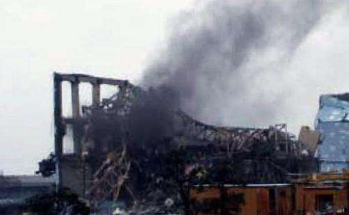 Black smoke rises from reactor three at Fukushima Dai-ichi nuclear power plant on March 21, 2011