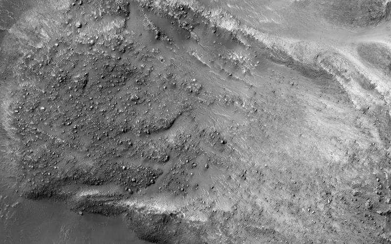Boulders on a Martian landslide
