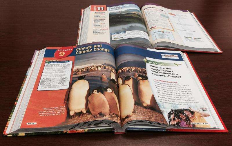 California 6th grade science books: Climate change a matter of opinion not scientific fact