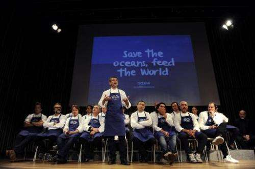 Chef Andoni Luis Aduriz (C) speaks as he participates with other international top chefs in a conference on March 17, 2015, in S