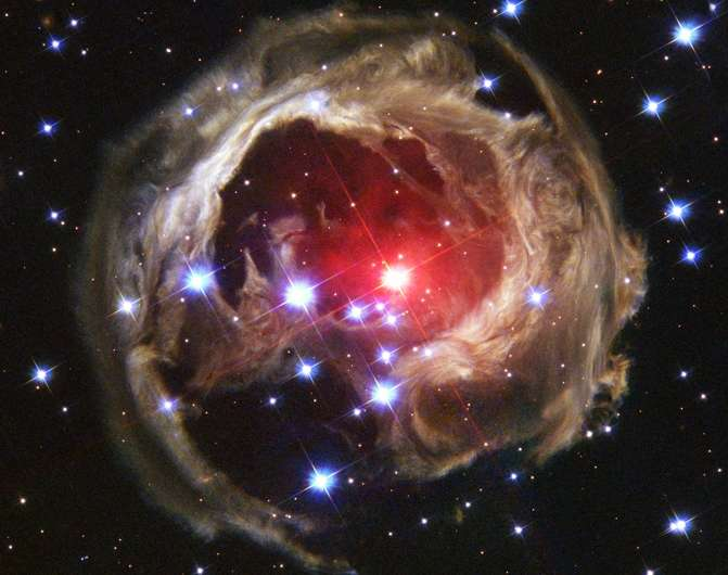 Colliding red giant prime suspect for luminous red nova outburst
