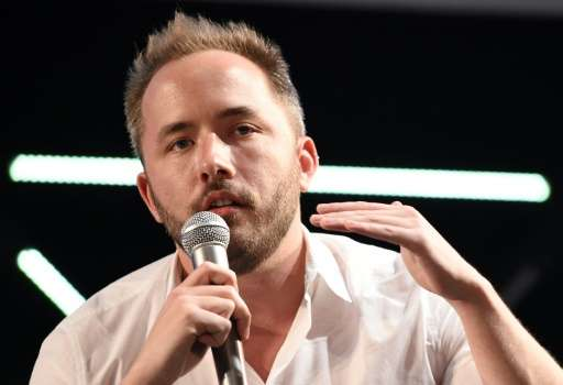 Dropbox CEO and co-founder Drew Houston delivers a keynote speech during the New Economy Summit 2015 in Tokyo on April 7, 2015