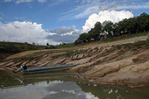 Dry banks, due to the lack of rain, are seen at Funil Hydroelectric Plant reservoir, in Resende, about 160 km west from Rio de J