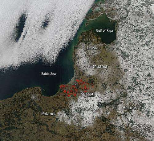 Fires and snow in Central Europe