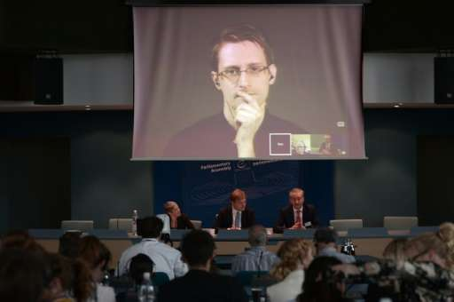 Former NSA intelligence contractor Edward Snowden, pictured via video link from Russia on June 23, 2015, revealed the bulk gathe