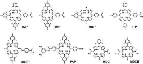 Free-base porphyrin sensitizers