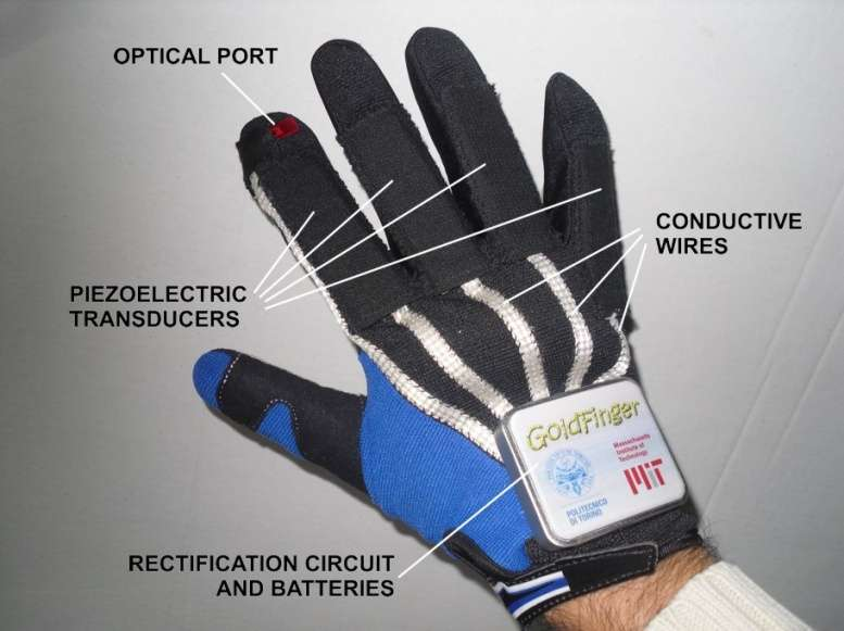 Glove interface device powered by converting the user's biomechanical energy