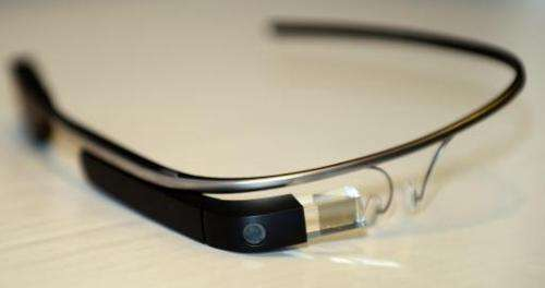 Google Glass is displayed ahead of a discussion at the University of Southern California's Annenberg School for Communication an