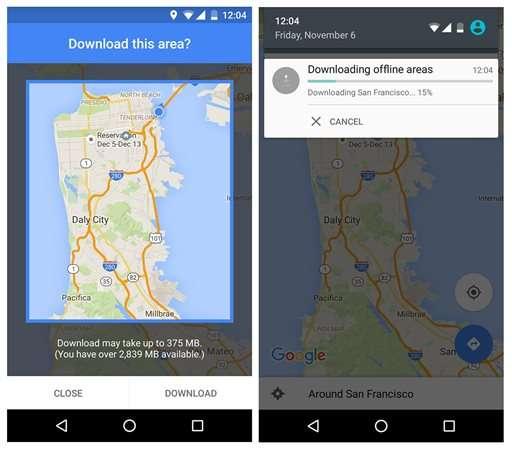 Google Maps offers offline option when Internet is spotty