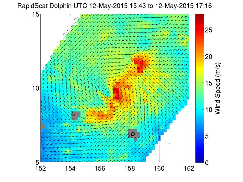 GPM, AIRS, and RapidScat view Typhoon Dolphin headed for Guam