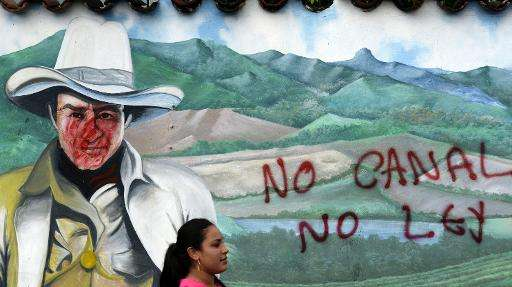 """Graffiti reads """"No canal, no law"""" during a protest in Juigalpa, Nicaragua on June 13, 2015 against the construction of"""